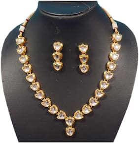 Oanik jewel Traditional Designer Gold Plated Kundan Necklace Set With Earrings For Women And Girls