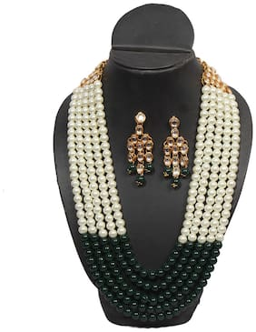 Oanik Wedding Collection White-Green 5 Layer Faux Mother-of-pearl And Kundan Rani Haar Necklace Jewellery Set with Earrings for Women