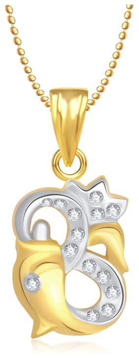 Om Ganpati God Pendant With Chain Lockets For Men And Women Gold Plated In American Diamond GP208