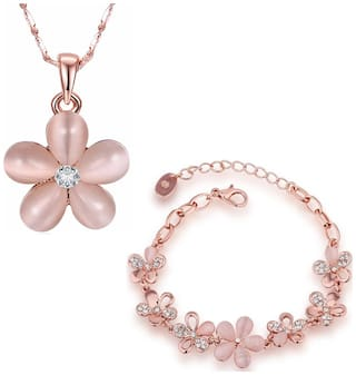 Om Jewells 18k Rosegold Plated Combo of Floral Link Bracelet and Pendant Necklace Designed for Girls and Women CO1000054