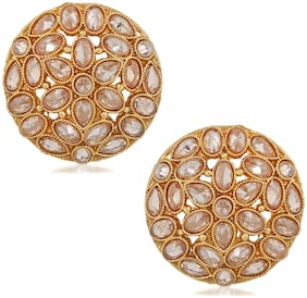 Om Jewells Traditional Ethnic Gold Plated Kundan Stones Studded Stud Earrings for Girls and Women ER1000114