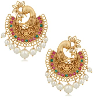 Om Jewells Wedding Jewellery Traditional Ethnic Matte Gold Plated Feathery Peacock Chand Bali Earrings Emblished with Red and Green Kundan Stones for Girls and Women ER1000119
