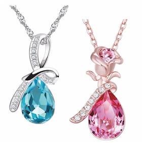 Om Jewells Austrian Crystal Jewellery Combo Set of 2 Ocean Water Drop Pendant Necklace  for Girls and Women CO1000040