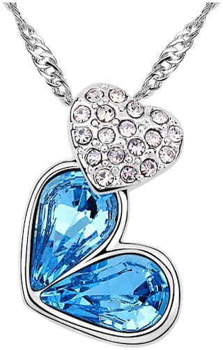 Om Jewells Artificial Jewellery Love Heart Rhodium Plated Austrian Crystal Pendant Necklace for Girls and Women PD1000840