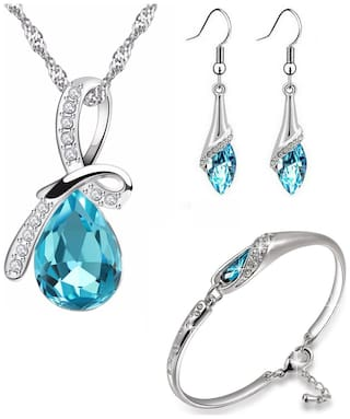 Om Jewells Blue Rhinestone Party Wear Jewellery Combo of Aqua Drop Pendant Necklace Set with Cuff Bracelet for Girls and Women CO1000064