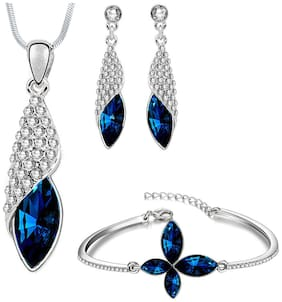 Om Jewells Blue Crystal Jewellery Combo of Groovy Necklace Set and Bangle Bracelet for Girls and Women CO1000063