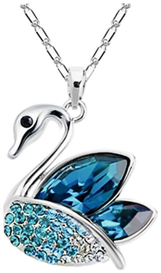 Om Jewells Blue Crystal Swan Pendant Necklace Enhanced with Blue and White Chaton Stones made for Girls and Women PD1000816