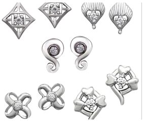 Om Jewells Combo of 5 Stud Earrings with Crystal Stones CO1000014