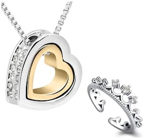 Om Jewells Combo of Two Tone Valentine Heart in Heart Pendant and Queen's Crown Adjustable Ring for Girls and Women CO1000097