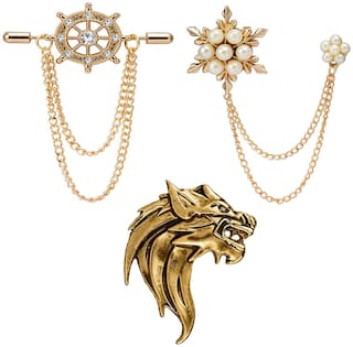 Om Jewells Crystal Jewellery Combo 2 Rose Gold and 1 Gold Plated Indo Western Lapel Pin Brooch for Boys and Men CO1000211