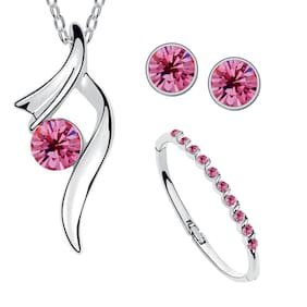Om Jewells Crystal Jewellery Combo Set of Deep Pink Crystal Necklace Set and Bangle Bracelet Designed  for Girls and Women CO1000035PIN