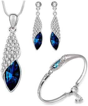 Om Jewells Crystal Jewellery Combo of Exquisite Rhodium Plated Designer Pendant Necklace Set and Bangle Bracelet  for Girls and Women CO100062