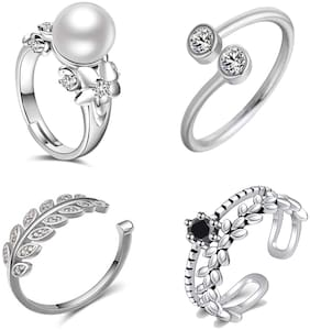 Om Jewells CZ Jewellery Combo of 4 Adjustable Rhodium Plated Designer Finger Rings Made with CZ Stones for Girls and Women CO1000283
