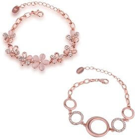 Om Jewells Combo of Two Rosegold Plated Flower Delicate Bracelets for Girls and Women CO1000049