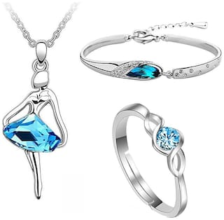 Om Jewells Classic Jewellery Set of Dancing Girl Pendant Necklace, Party Wear   Bangle Bracelet and Blue Solitaire Finger Ring for Girls and Women CO1000124