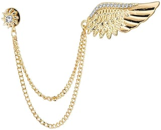 Om Jewells Crystal Jewellery Rose Gold Plated Indo Western Wings Lapel Pin Brooch with Hanging Chain Emblished with Crystal Elements for Boys and Men SP10002009