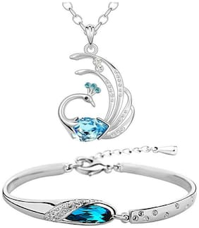 Om Jewells Crystal Jewellery Combo of Feathery Peacock and Fancy Crystal Bangle Bracelet for Girls and Women CO1000045