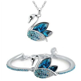 OM Jewells Crystal Jewellery Combo Set of Exotic Swan Pendant Necklace and Adjustable Bangle Bracelet for Girls and Women CO1000037