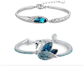 Om Jewells Combo of 2 Fancy Stunning Blue Crystals Adjustable Bangle Bracelets For Women and Girls CO1000027