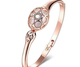 Om Jewells Crystal Jewellery Rosegold Plated Designer Bangle Bracelet Enhanced with Cats Eye Stone and White Crystal Elements for Girls and Women BR1000026