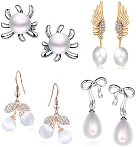 Om Jewells Crystal Jewellery Combo of Gold;Rhodium and Rose Gold Party Wear Earrings Studded with Crystal Elements and Artificial Pearls for Girls and Women CO1000231