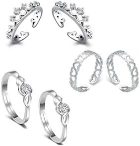 Om Jewells Cz Jewellery Combo of 3 Rhodium Designer Adjustable Toe Ring for Girls and Women CO1000173
