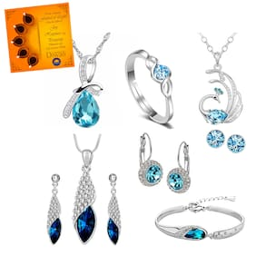 Om Jewells Earring Ring Bracelet & Necklace Set with Greeting Card for Women CO1000223