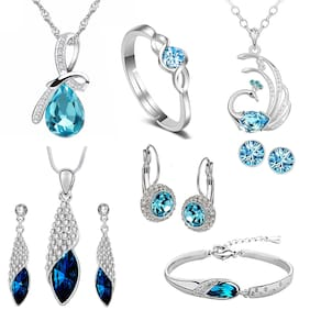 Om Jewells Rhodium Plated Exquisite Blue Crystal Pendant Set, Bracelet and Earrings Combo for Girls and Women CO1000223