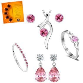 Om Jewells Earring Ring Bracelet & Necklace Set with Greeting Card for Women CO1000222