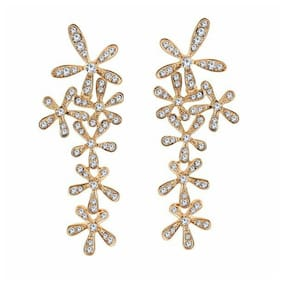 Om Jewells Fashion Jewellery Cluster of White Crystal Flowers Long Earrings for Girls and Women ER1000047