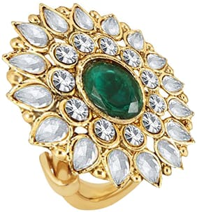 Om Jewells Gold Plated Ravishing Indo Western Adjustable Traditional Cockatil Ring Studded with Kundan and Crystal Stones for Girls and Women FR1000947