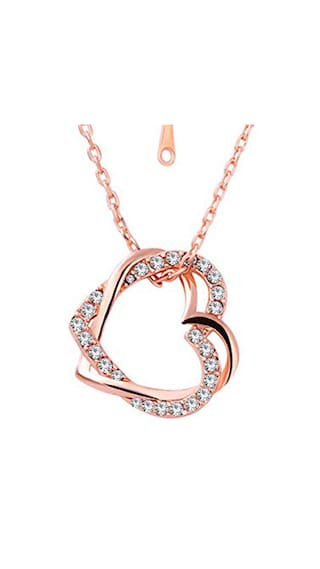 Buy om jewells fashion jewellery rose gold plated double heart om jewells fashion jewellery rose gold plated double heart pendant necklace made with crystal elements for mozeypictures Image collections