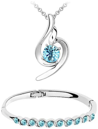 Om Jewells Fashion Jewellery Combo of Aqua Crystal Designer Pendant Necklace and Bangle Bracelet for Girls and Women CO1000057