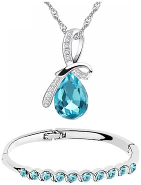 Om Jewells Fashion Crystal Jewellery Combo of Stylish Dew Drop Pendant Necklace and Bangle Bracelet for Girls and Women CO1000058