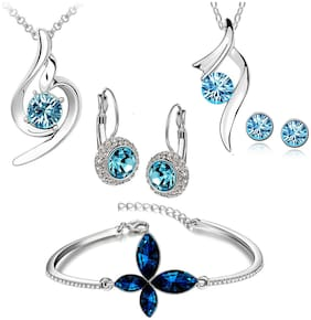 Om Jewells Fashion Jewellery Combo of Solitaire Blue Crystal Love Pendant sets and Bracelet forgirls and women CO1000166
