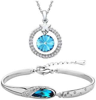 Om Jewells Fashion Jewellery Combo Blue Crystal Dangling Revoli Pendant Necklace and Bangle Bracelet for Girls and Women CO1000084