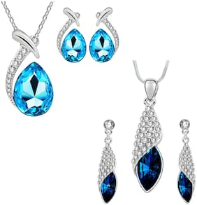 Om Jewells Christmas Collection Fashion Jewellery Combo of Blue Crystal Dew Drop and Designer Cone  Shape Pendant Necklace Set  for Girls and Women CO1000123