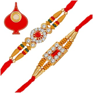 Om Jewells Gold Plated Gleaming Crystals Designer Rakhis (Bracelet) With Multicolour Beadsfor Rakshabandhan For Loving Bhaiya Combo Set Of 2 CO1000331