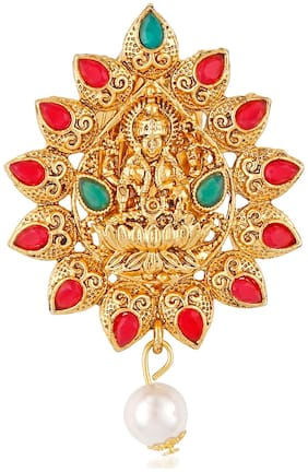 Om Jewells Gold Plated Traditional Ethnic Red and Green Kundan Studded Goddess Laxmi Brooches/Saree Pin For Girls and Women SP10002005