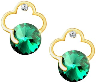 Om Jewells Gold Plated Round Sea Green Crystal Jewellery Drop Earrings for girls and women ER1000070