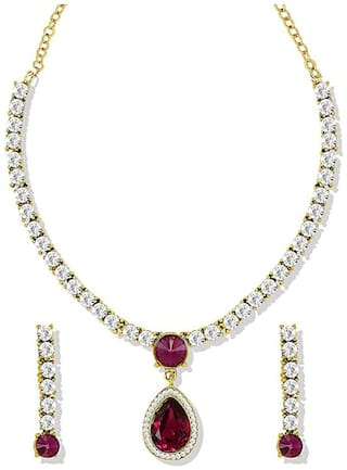 Om Jewells Gold Plated Gleaming Crystals Solitaire Necklace set for girls and women NL1000545