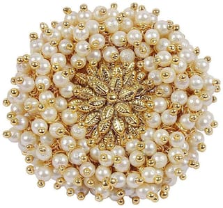 Om Jewells Gold Plated Beautiful Artificial Pearl Adjustable Ethnic Polki Ring for Women FR1000932