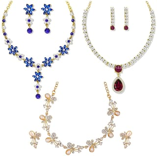 Om Jewells Gold Plated Combo of 3 Exquisite Crystal Necklace set  for girls and women CO1000118