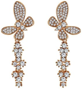 Om Jewells Gift for Girls shining from White Crystals Butterfly Long Earrings for Girls and Women ER1000045