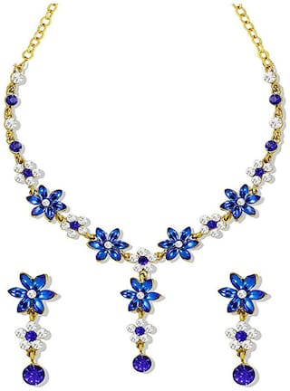 Om Jewells Gold Plated Floral inspired royal blue crystal petals Necklace set for girls and women NL1000544