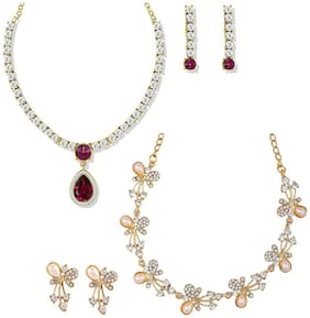 Om Jewells Gold Plated Combo of 2 Shining Crystal Necklace set for girls and women CO1000120