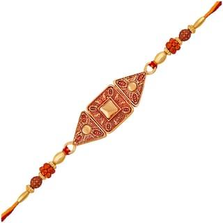 Om Jewells Gold Plated Red Meenakari Geometric Design Rakshabandhan Rakhi (Bracelet) with Kundan Stones for Dearest Bhai/Bhaiya/Brother RK1000358