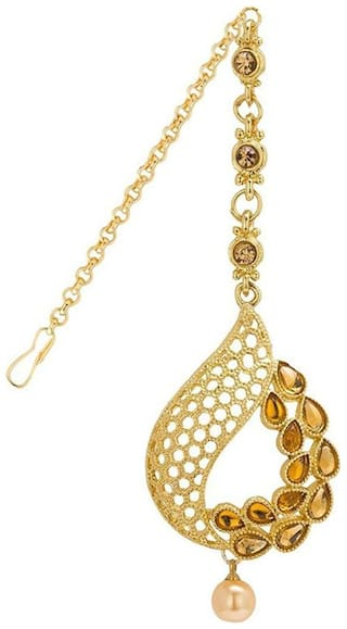 Om Jewells Gold Plated Traditional Paisley shaped Maangtikka with Kundan and artificial pearl for girls and women MT1000601