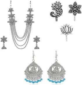 Alloy Silver;Blue Choker Necklace