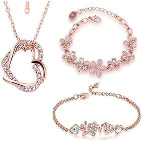 Om Jewells Immitation Jewellery Combo of 2 Designer Party Wear Rosegold Adjustable Link Bracelets and 1 Heart in Heart Pendant for Girls and Women CO1000165